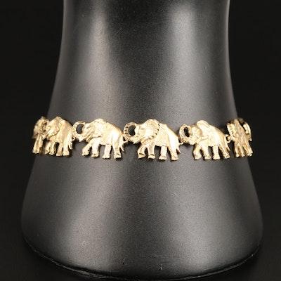 14K Elephant Motif Link Bracelet