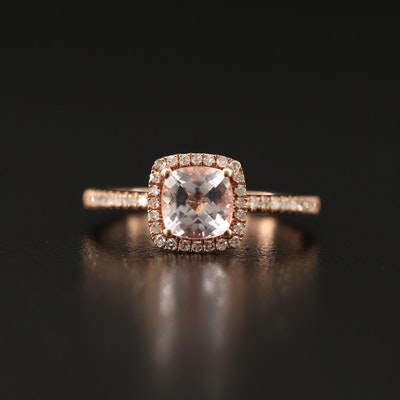 10K Rose Gold Morganite Ring with Diamond Shoulders and Halo
