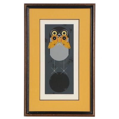 "Charley Harper Serigraph ""Howlloween (Burrowing Owl),"" 1970"