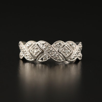 "10K Diamond ""X"" Motif Ring"