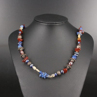 Sterling Cloud Jewelry Albuquerque Amber, Citrine and Lapis Lazuli Bead Necklace