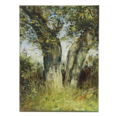 "Garncarek Aleksander Oil Painting ""Cracked Tree"", 2020"