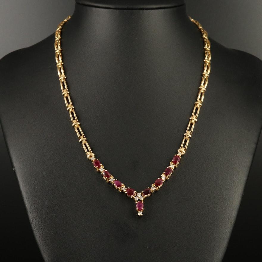 14K Ruby and Diamond Chevron Necklace