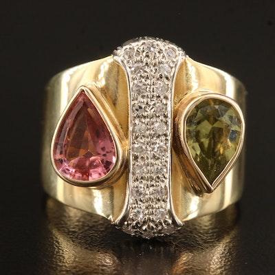 14K Peridot, Pink Tourmaline and Diamond Ring