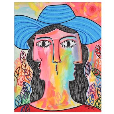 "Michel Blázquez Acrylic Painting ""Woman with Blue Hat"", 2020"
