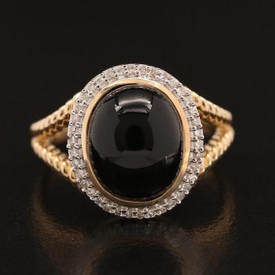 14K Black Onyx and Diamond Split Shoulder Ring