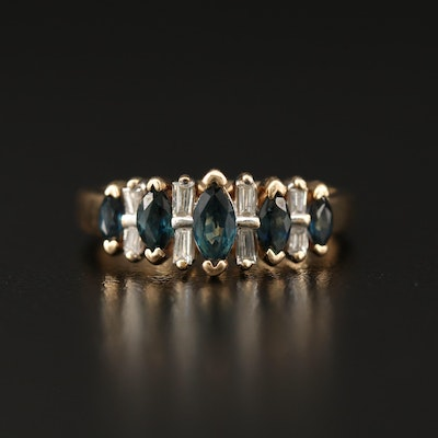 14K Sapphire and Diamond Ring Featuring Tiered Design