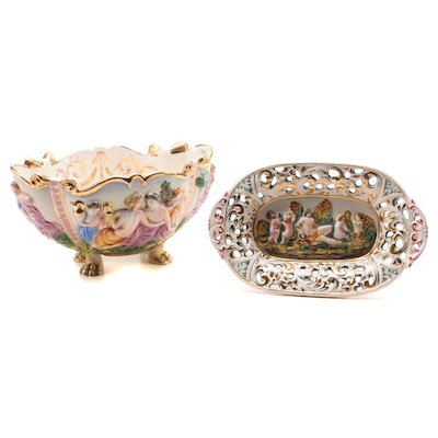 Capodimonte Centerpiece Plate and Bowl, Mid-20th Century