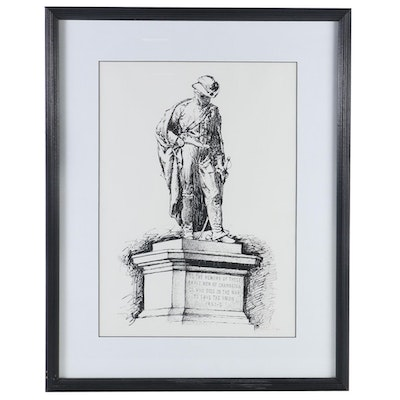 Mike Major Union Civil War Memorial Statue Ink and Marker Drawing, 20th Century