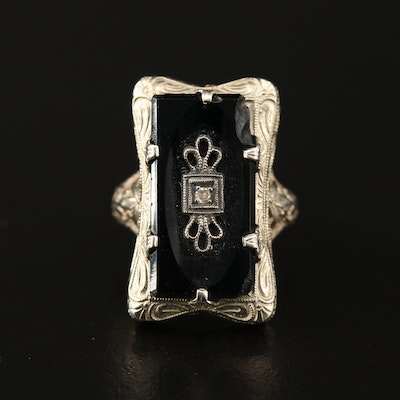Art Deco 14K Filigree Black Onyx Ring with Diamond Accent