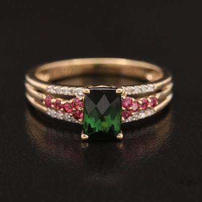 14K Tourmaline and Diamond Ring
