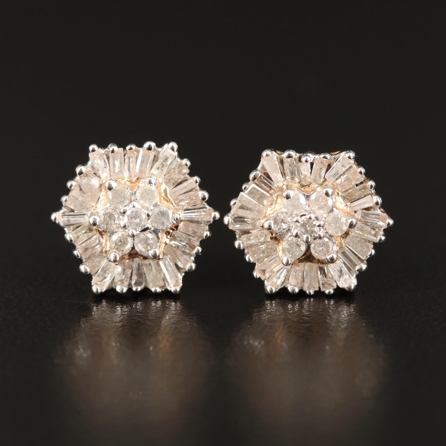 10K Diamond Hexagon Cluster Earrings