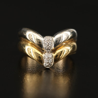 Two-Tone 18K Double Chevron Diamond Ring