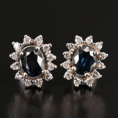 14K 2.00 CTW Sapphire and Diamond Stud Earrings