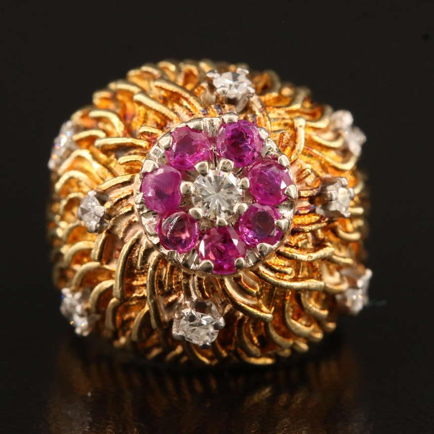 14K Diamond and Ruby Domed Ring