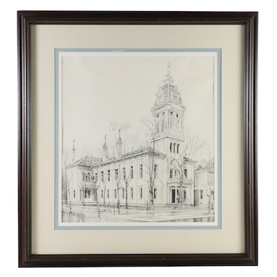 Old Courthouse in Urbana, Ohio Ink Drawing, Late 20th Century