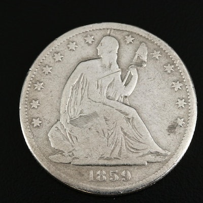 1859-S Seated Liberty Silver Half Dollar