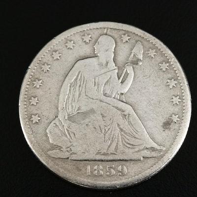 1859-S Seated Liberty Silver Half Dollar