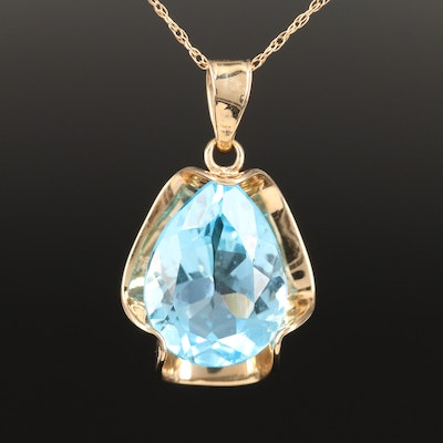 10K Topaz Pendant Necklace