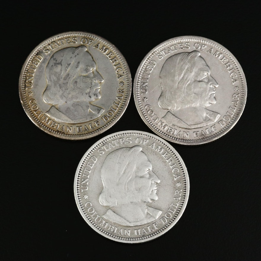 Three 1893 Columbian Exposition Silver Half Dollars