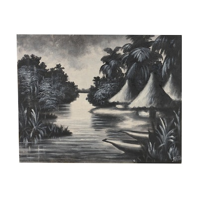 Acrylic Monochrome Painting of Riverscape