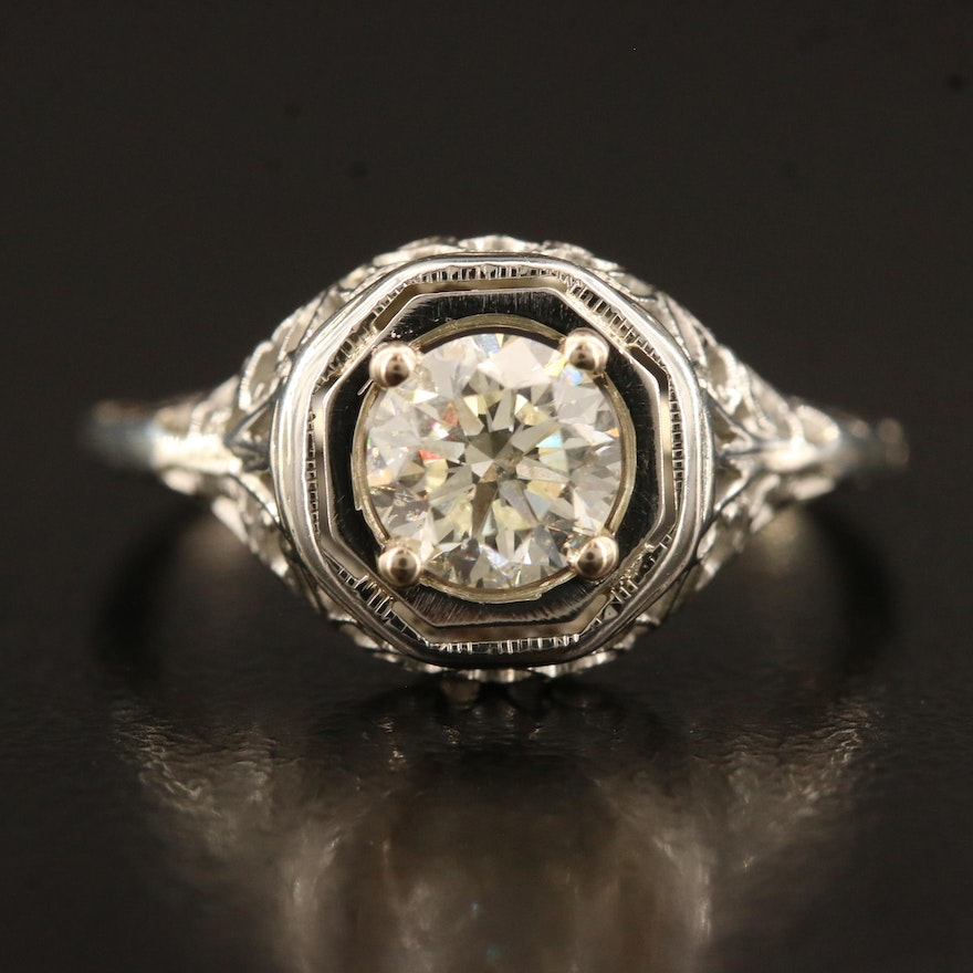 Late Art Deco 18K Diamond Ring with Openwork Detail