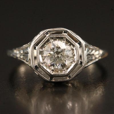Late Art Deco 18K Diamond Ring
