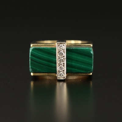 Modernist Inspired 18K Malachite Ring with Diamond Accents