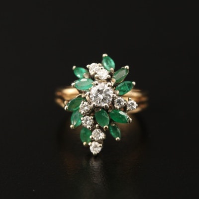 Vintage 14K Diamond and Emerald Cluster Ring
