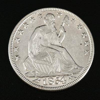"1854-O Seated Liberty ""Arrows no Rays"" Silver Half Dollar"