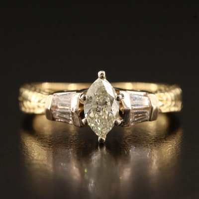 18K 0.98 CTW Diamond with Patterned Shoulders