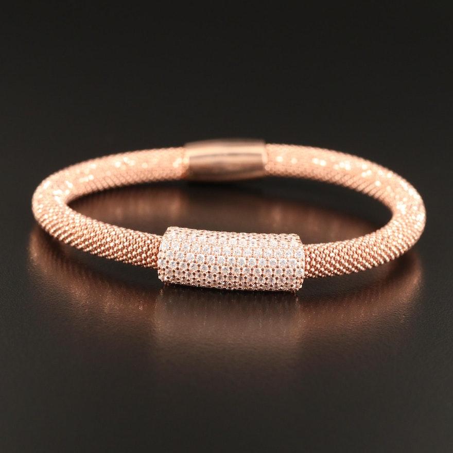 Sterling Silver Cubic Zirconia Bracelet Featuring Rose Tone