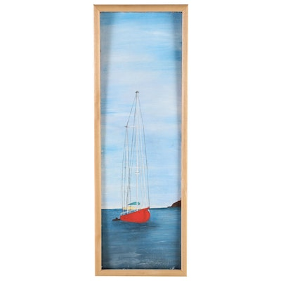 Nautical Acrylic Painting of Red Sailboat