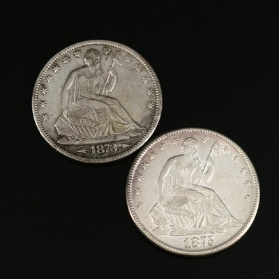 1873 and 1875 Seated Liberty Silver Half Dollars