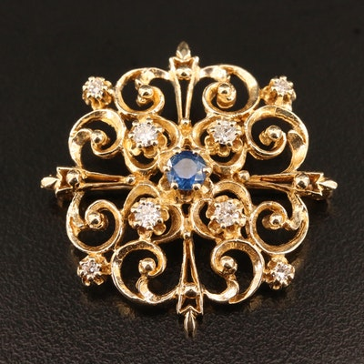 14K Sapphire and Diamond Brooch with Scroll Pattern