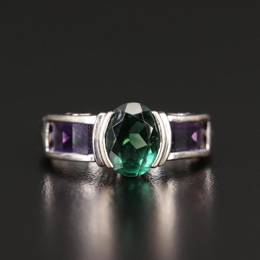 14K Quartz and Amethyst Ring