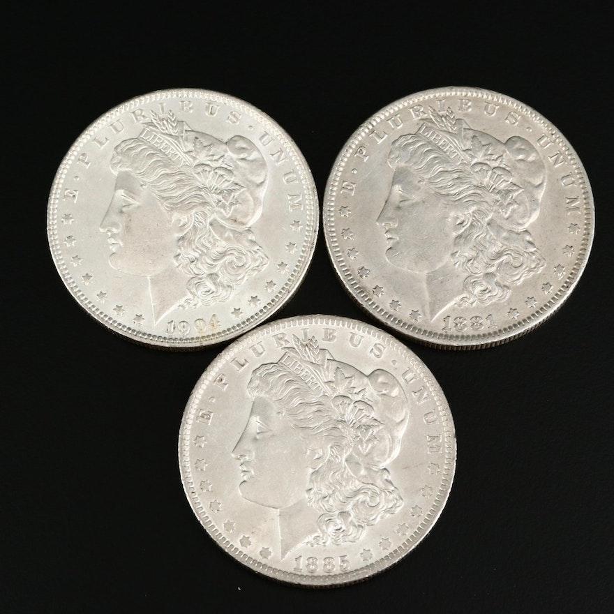 Three Morgan Silver Dollars, Late 19th/Early 20th Century