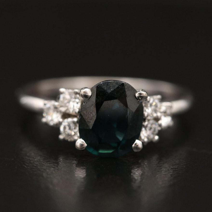 14K 1.29 CT Sapphire and Diamond Ring