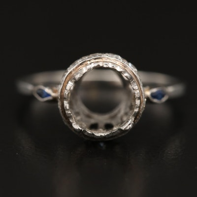 Platinum Diamond and Sapphire Semi-Mount Ring