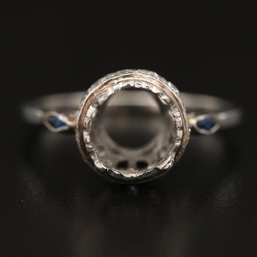 Platinum Diamond and Sapphire Semi-Mount Ring