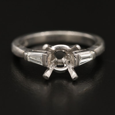 Platinum Diamond Semi-Mount Ring with Arthritic Shank