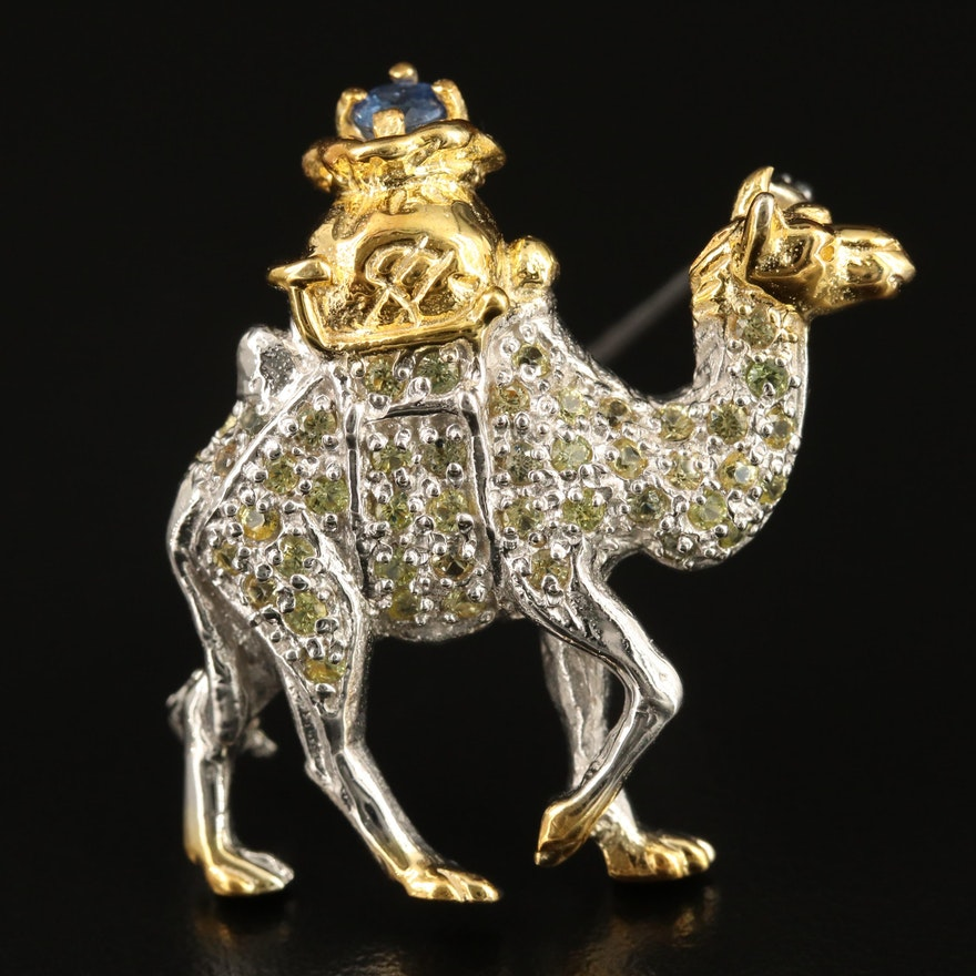 Sterling Silver Sapphire Camel Brooch