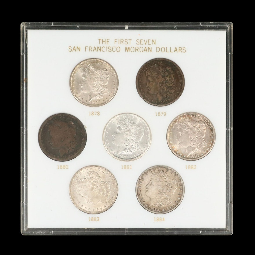 """The First Seven San Francisco Morgan Dollars"" Coin Set, Late 19th Century"