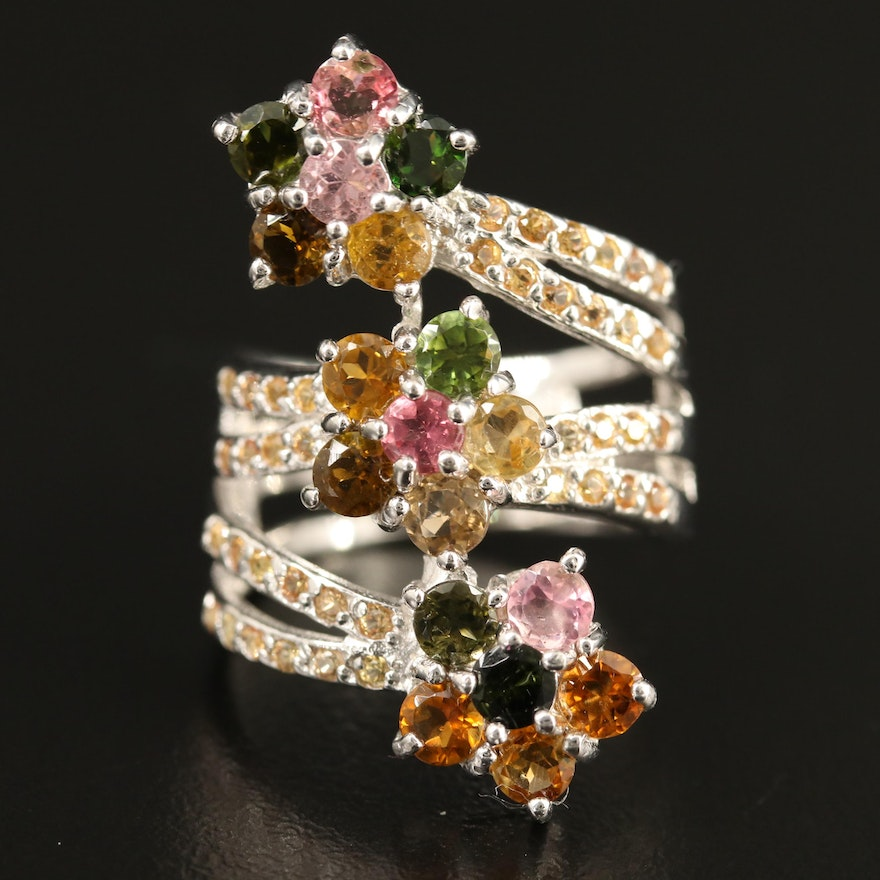 Sterling Silver Tourmaline and Sapphire Floral Wrapped Ring