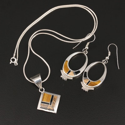 Sterling Inlay Necklace and Earrings with Tiger's Eye, Jasper and Black Onyx