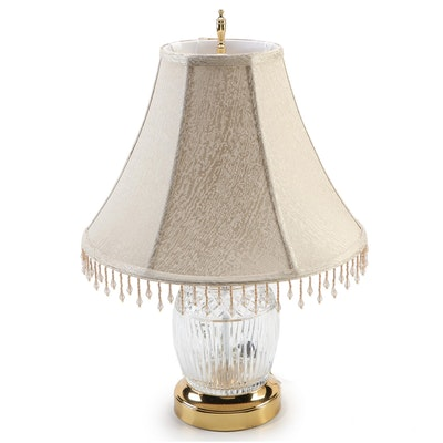 Waterford Crystal and Brass Table Lamp with Bead Trimmed Jacquard Shade