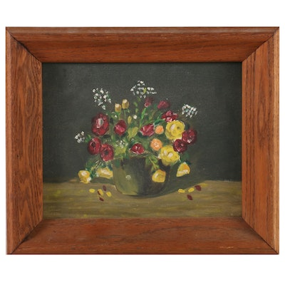 Still Life Oil Painting of Flower Pot, Mid 20th Century