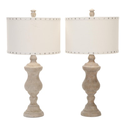 Cast Resin Table Lamps with Fabric Barrel Shades, Contemporary