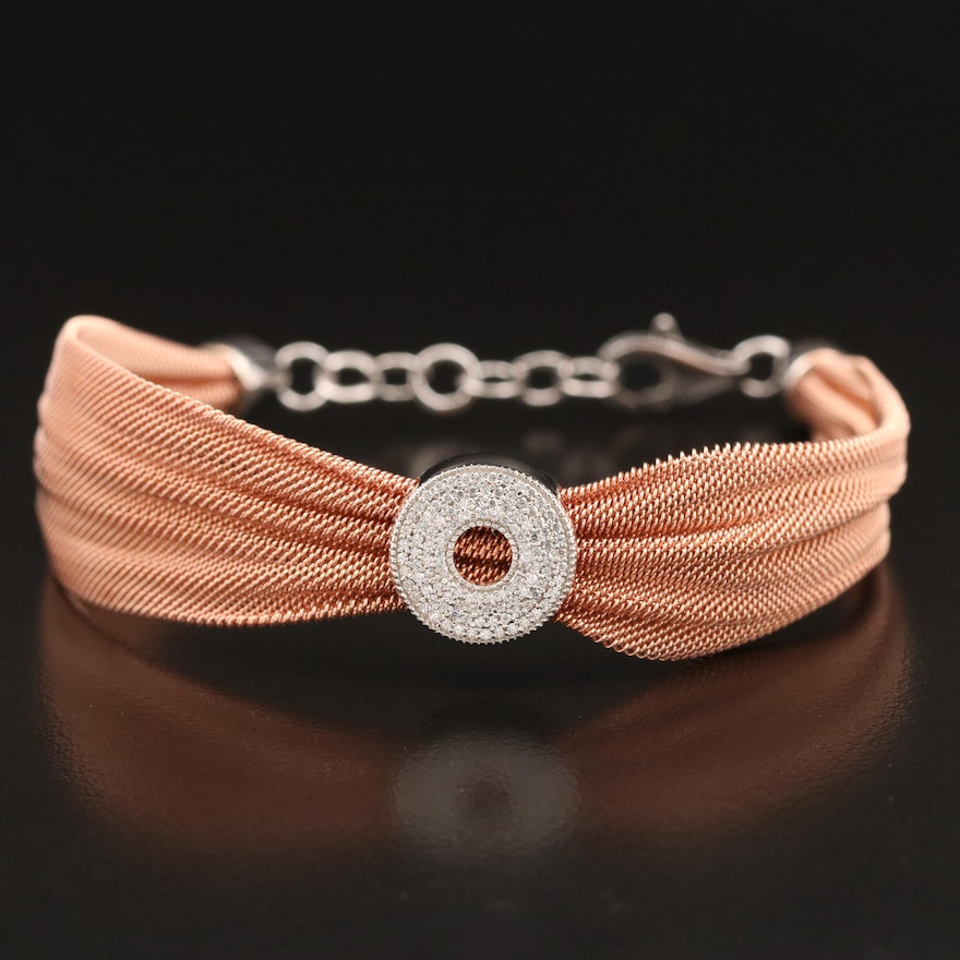 Sterling Silver Cubic Zirconia Mesh Bracelet with Ribbon Design