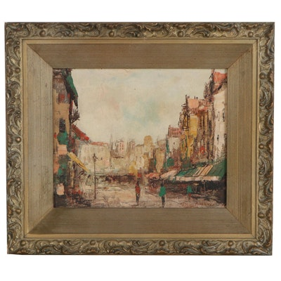Oil Painting of Village, 20th Century